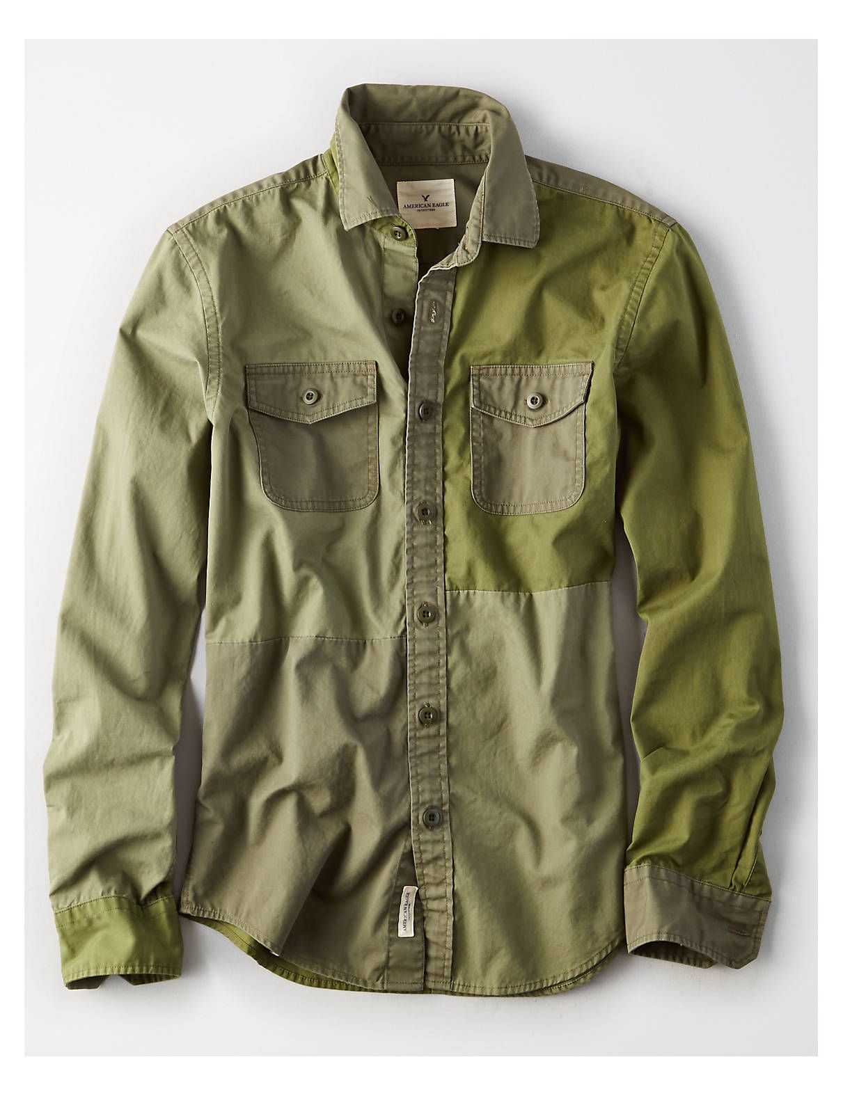 4fb151d55138 Display product reviews for AEO Colorblock Military Shirt
