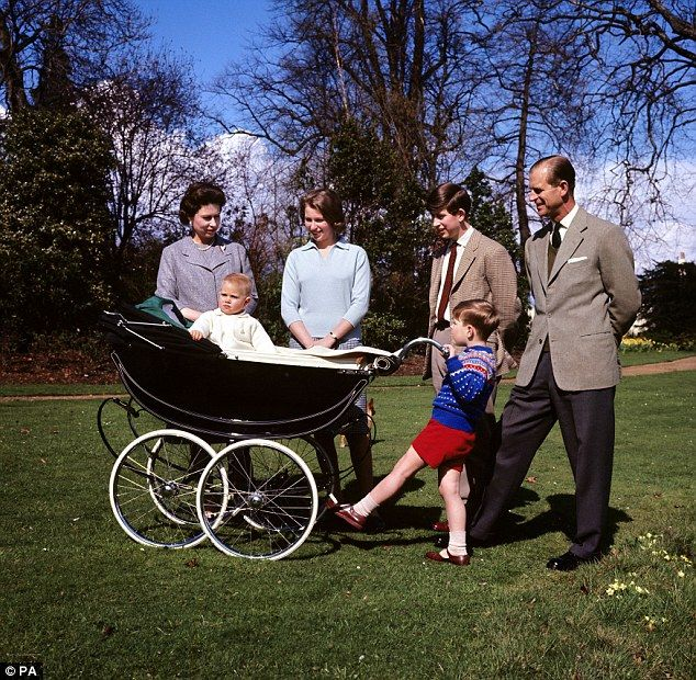 The pram was the same one used by the Queen to carry the Duke of York and the Earl of Wessex, pictured sitting in the pram. He is joined by Her Majesty, the Duke of Edinburgh, the Duke of York, Princess Anne and Prince Charles