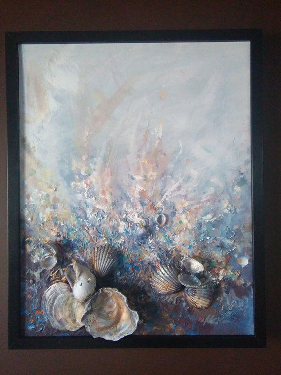 Abstracto arte oro mar firmado enmarcado listo para colgar | ideas ...
