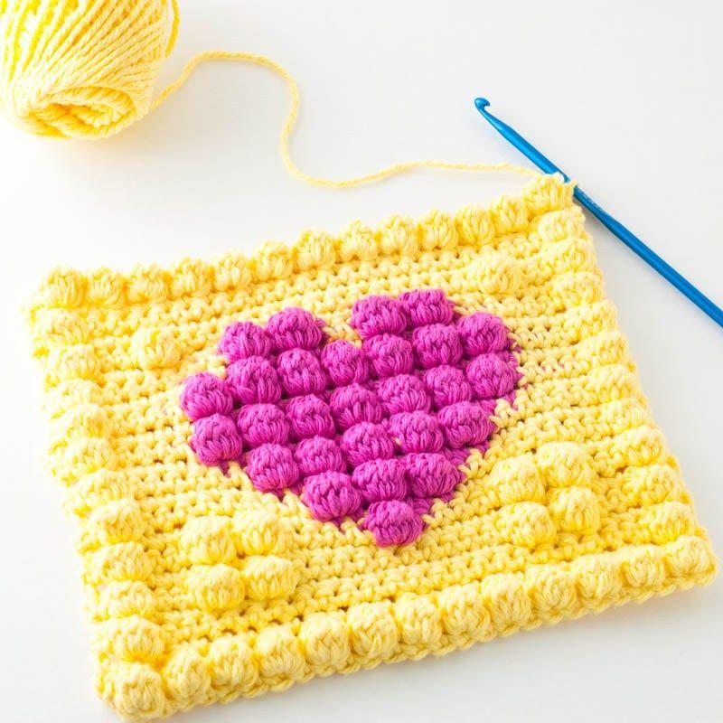 Crochet Bobble Heart Potholder   Bebe