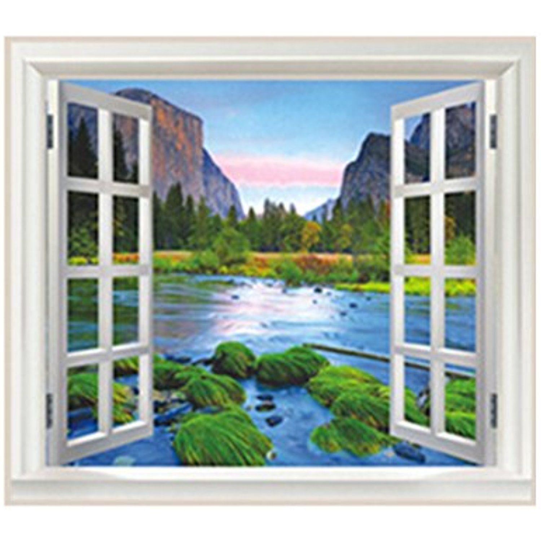 Tinksky 3D Wall Decor False Window Island Mountain River Background