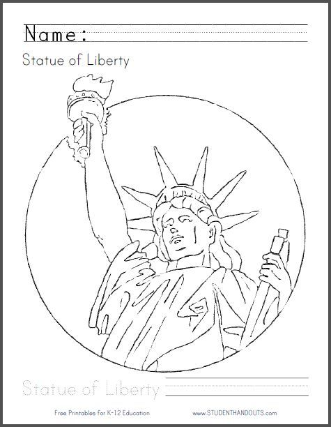 statue of liberty free printable coloring page with handwritingspelling practice
