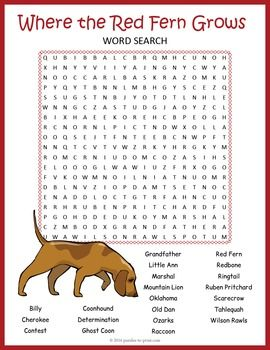 where the red fern grows word search worksheet a classroom activity to review the book all. Black Bedroom Furniture Sets. Home Design Ideas
