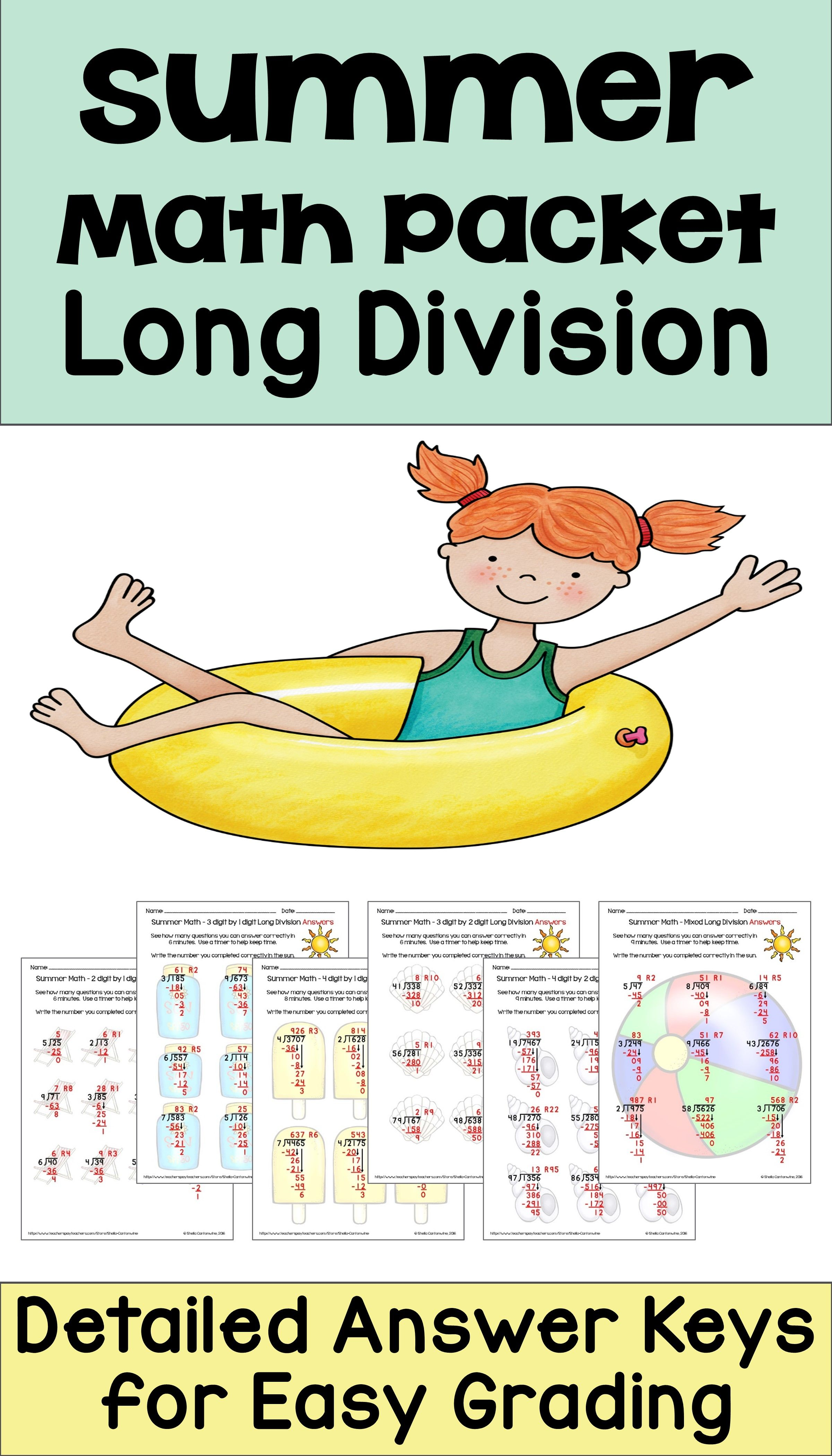 Summer Math Packet Long Division Worksheets