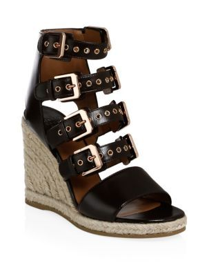 LAURENCE DACADE Rosario Shiny Leather Wedge Sandals 6F4bqjI6x
