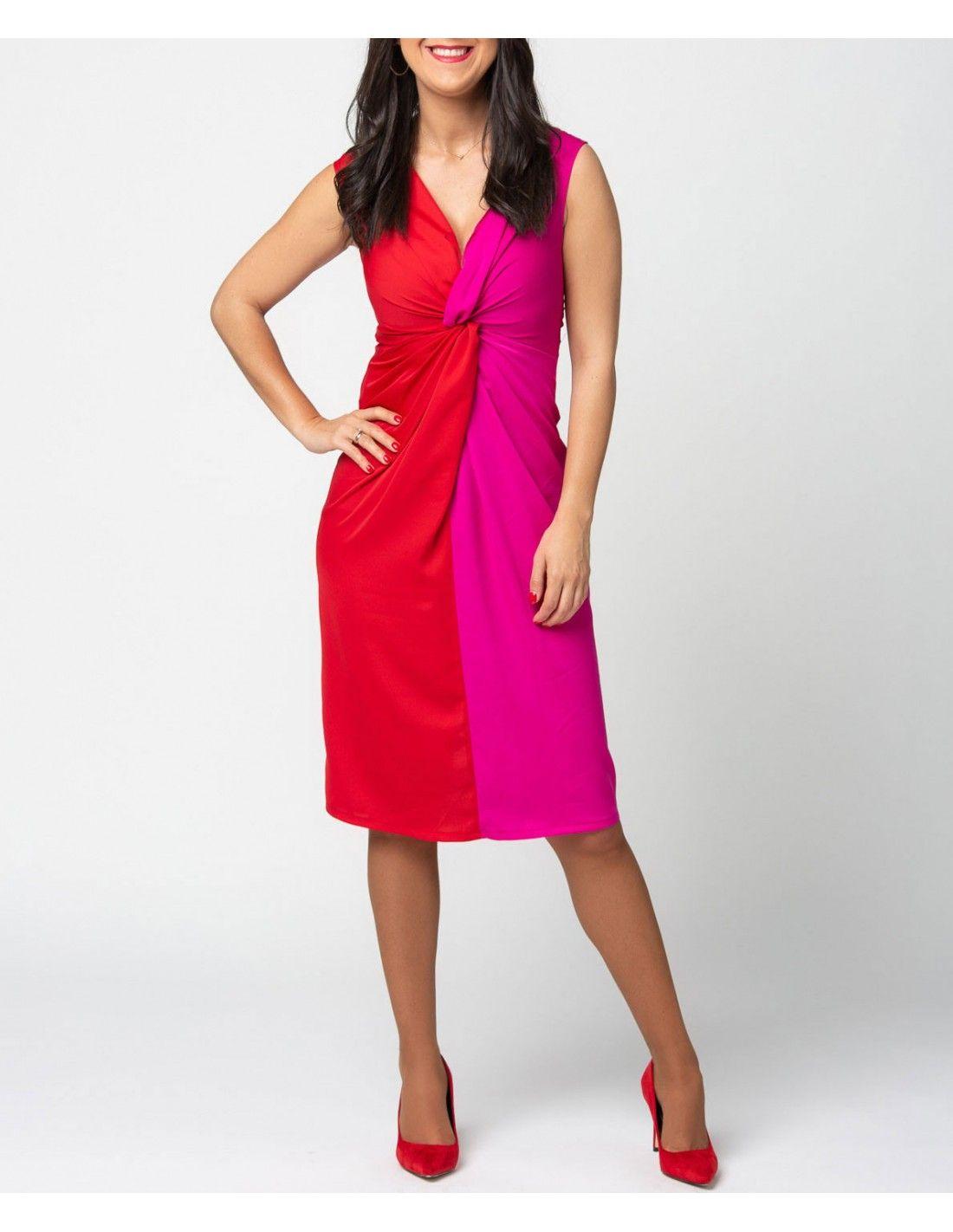 e469936e8e8ca Vestido Orquidea - Vestido bicolor en fucsia y rojo. Escote en pico.  Detalle de