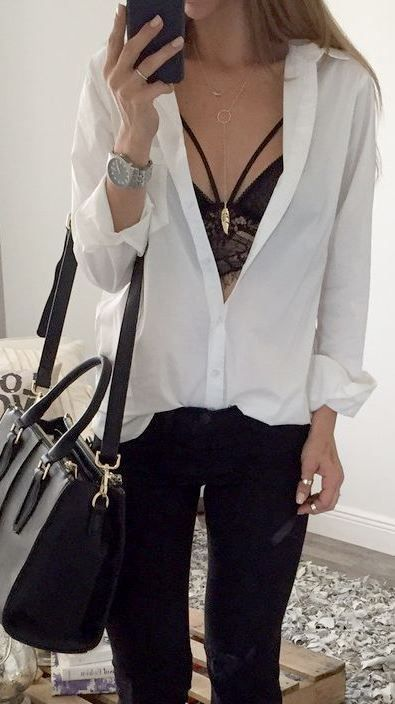 6419d768e32 Button down tops with lace bralettes under are a great pair!