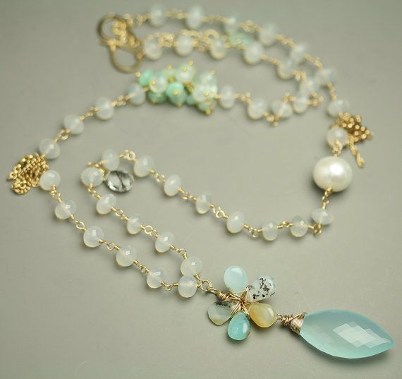 Blue Peruvian Opal Flower Necklace with Chalcedony. Looks like royal jewels.