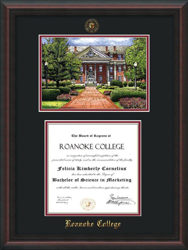 Roanoke College Diploma Frame-Satin Black-w/RC Watercolor-Black ...