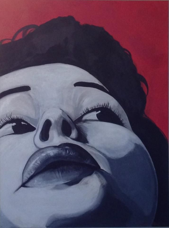 Listen, 2013 Acrylic on canvas 30 in x 40 in  $900.00 http://lisamariaartista.com/portfolio/listen/   A black and white portrait of a woman set against a red background shows a unique close up perspective. She glances up and to the side as if concentrating on something she hears behind her. It's size makes this piece striking and demand attention.