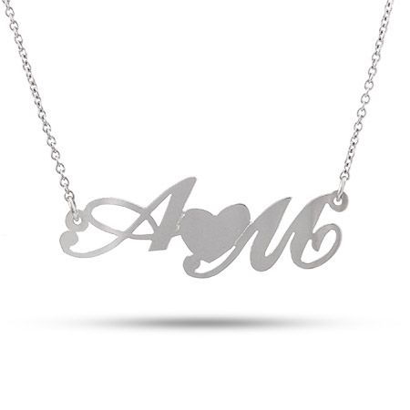Personalized Cupid Necklace Includes Free Small Sterling Silver Initial Necklace Personalized 14k Gold Two Name Necklace Couple Jewelry