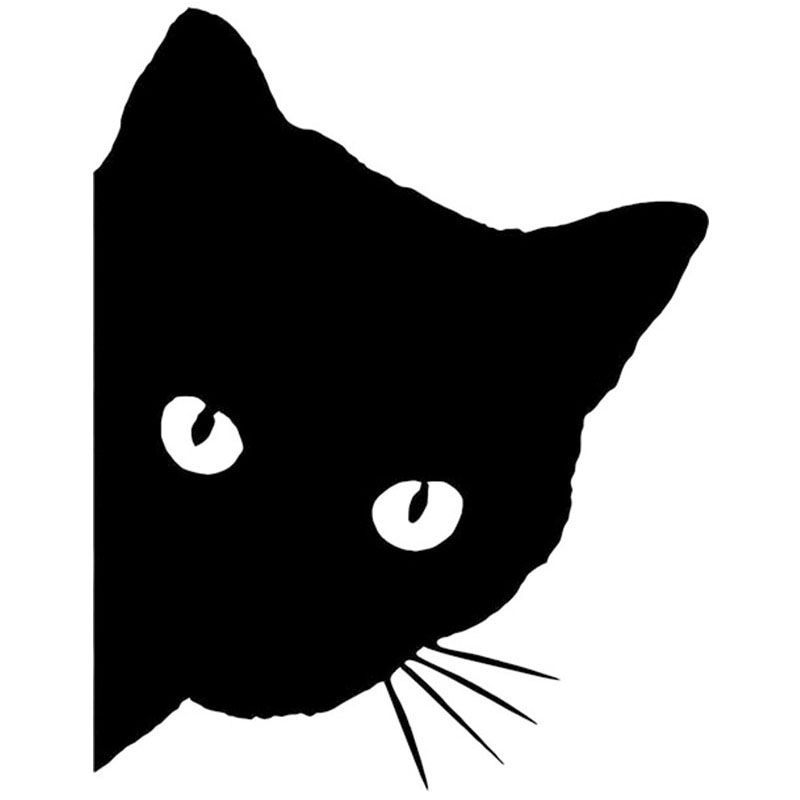 Free Shipping Cat Face With Whiskers Peeking Car Sticker For Truck - Vinyl decal cat pinterest
