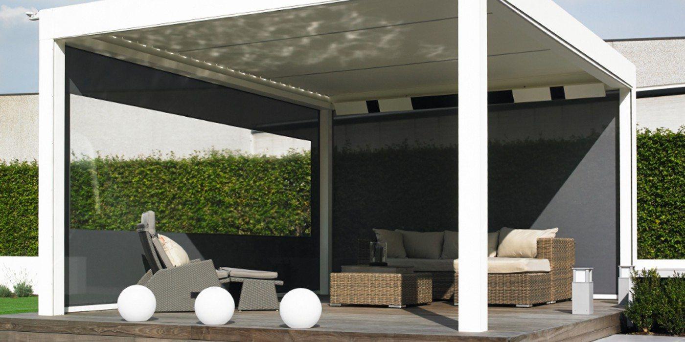 windschermen wind/waterdicht maken veranda geintegreerd. Optie: raam in doek.