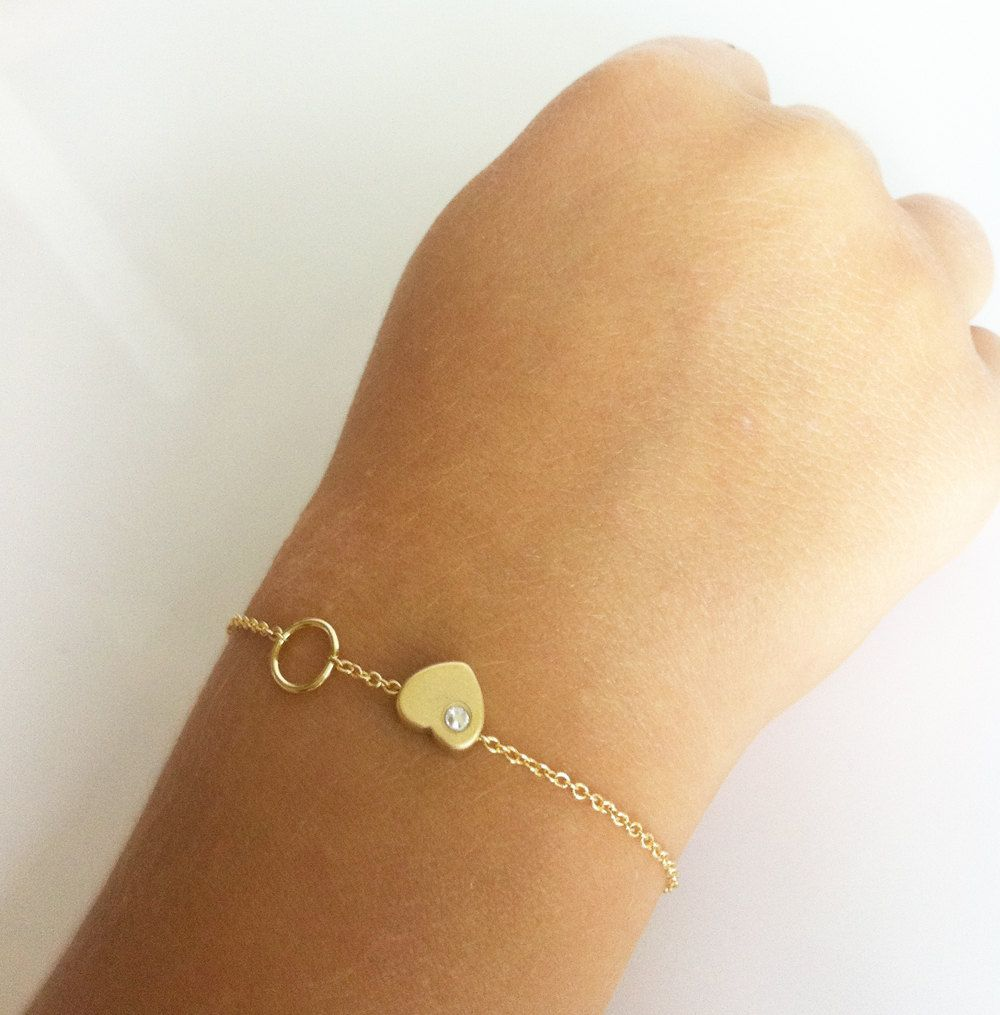 Gold child braceled baby bracelet gold heart bracelet baptism
