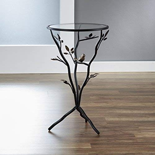 Small Accent Table Round End Side Plant Stand Decorative Glass Metal