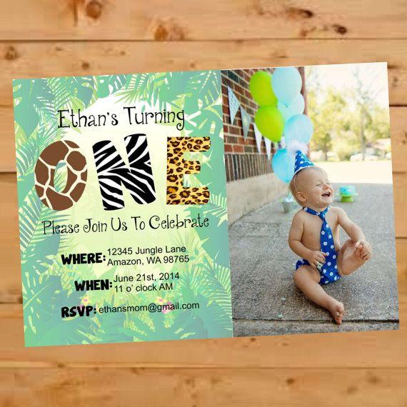 Jungle Themed Birthday Invite, Jungle Birthday Invitation, First ...