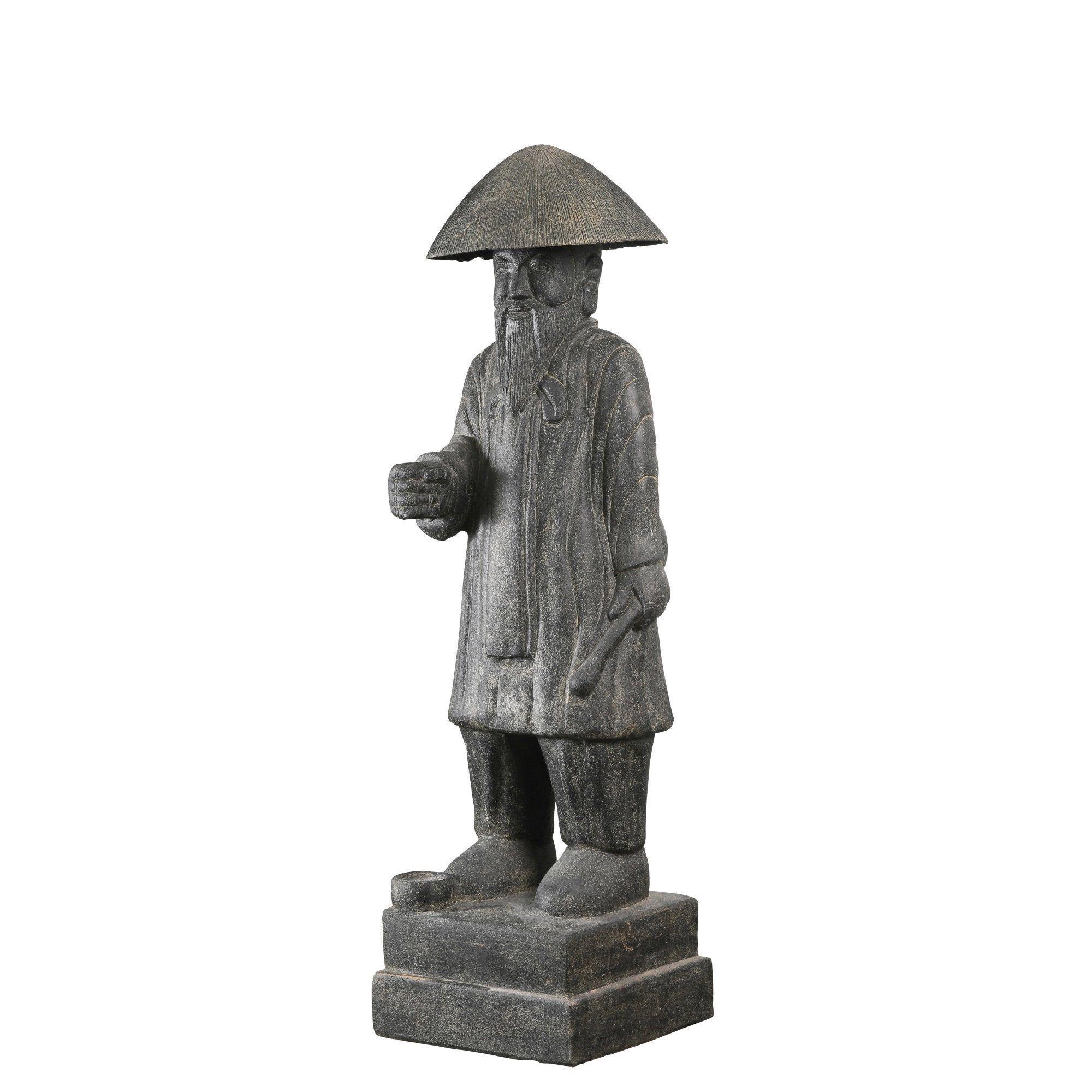 Décoration de jardin statue en pierre reconstituée Vieil Homme Debout 120 cm