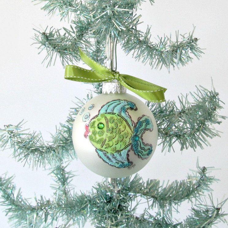 Zentangle Fish Christmas Bulb Tropical Xmas Tree Ornament