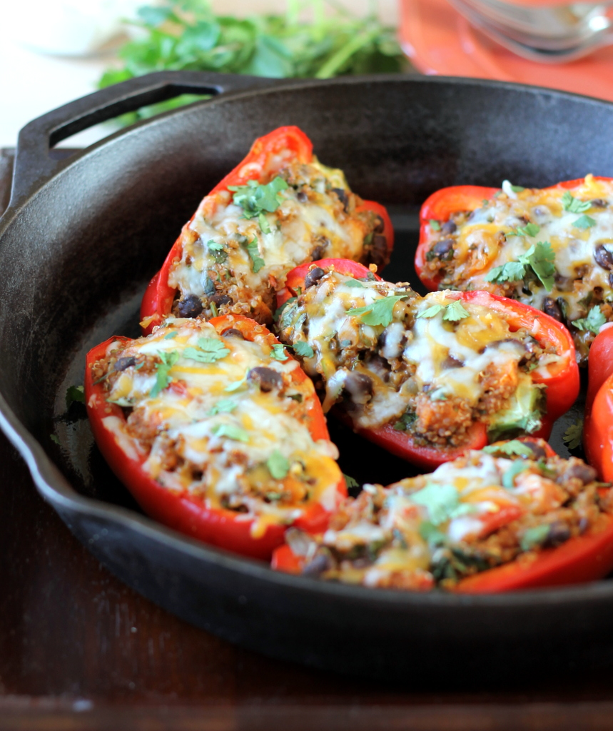 Black Bean Sweet Potato Quinoa Stuffed Bell Peppers Recipe Stuffed Peppers Recipes Vegetarian Recipes