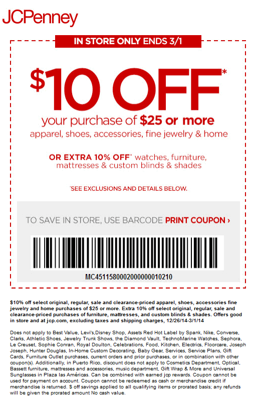 graphic about Gnc Printable Coupons 10 Off 50 named Pinned February 25th: Knock $10 off $25 at #JCPenney #coupon