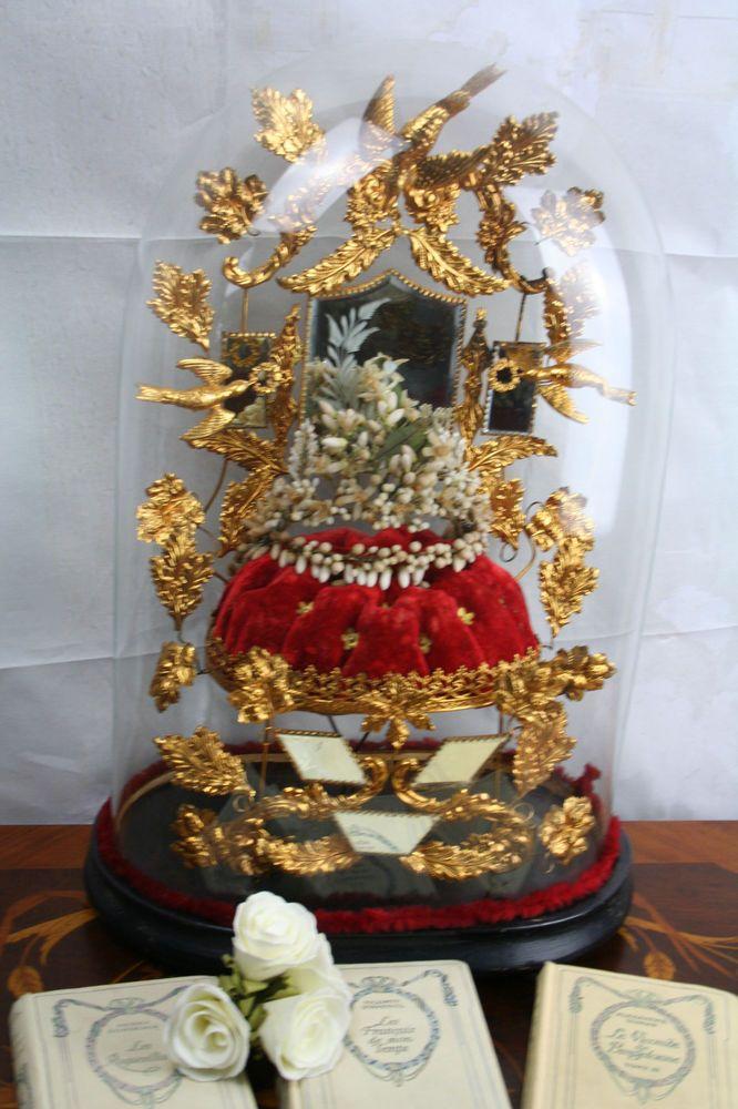 Xxl French Victorian Bridal Dome 1880 Globe Wax Tiara Wedding Gift