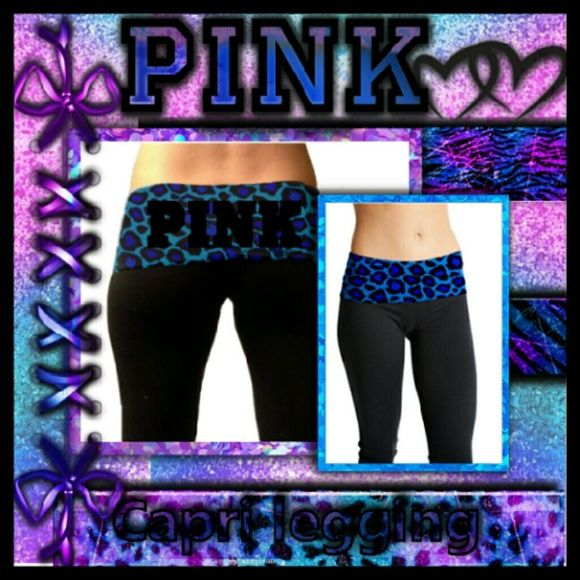 VS PINK foldover crop leggings Very cute good shape but too small for me now lol..very vibrant foldover leopard print blue..purple. .and black..these are crop or Capri leggings ..no tears rips or stains Victoria's secret pink  Pants Leggings