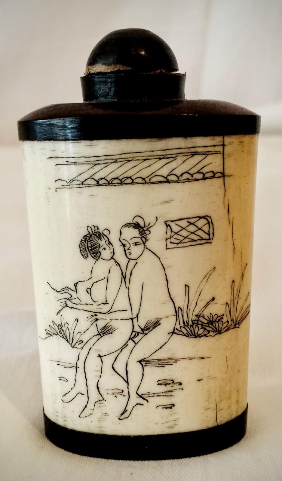 Antique japanese bone scent bottle with erotic scratch carvings and antique japanese bone scent bottle with erotic scratch carvings and symbols looking for antiques biocorpaavc Gallery