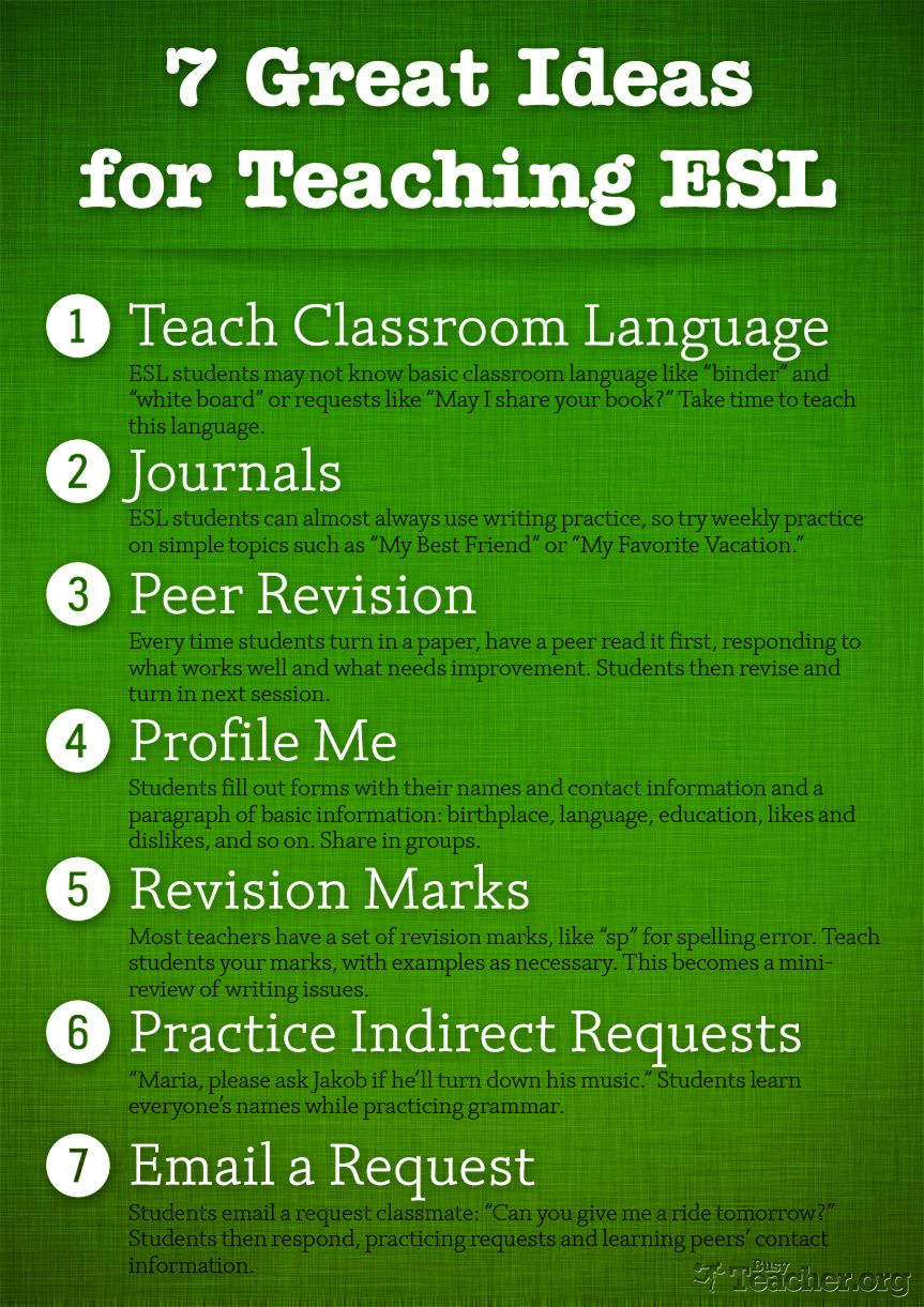 7 Great Ideas For Teaching ESL Poster Esl lessons
