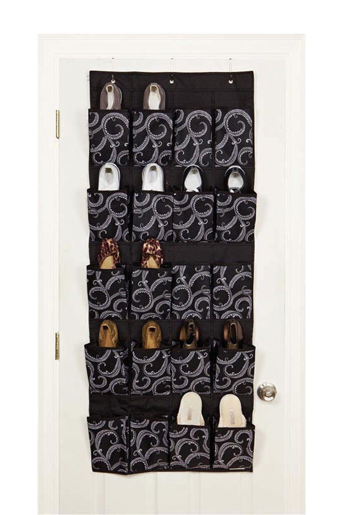20 pocket over the door marchmont black shoe organizer
