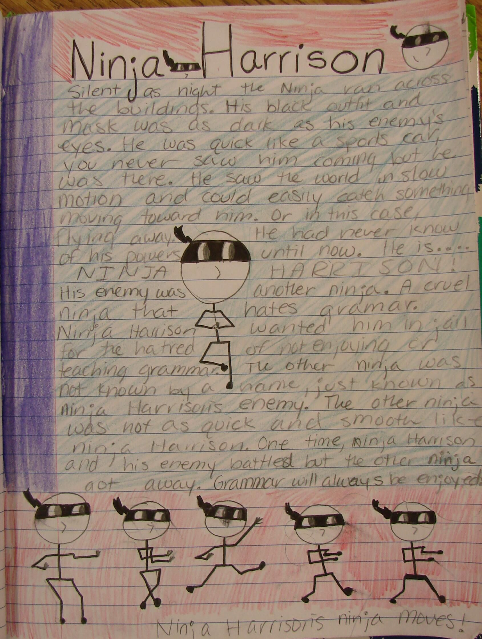 """Another Mr. Stick entry (from Morgan, 7th grade) about """"Harrison Ninja,"""" which I became a few weeks back when my temporary fake tooth shot out of my mouth and I caught it mid-air without even pausing my lesson.  See my Mr. Stick resources online here: http://corbettharrison.com/Mr_Stick.html"""