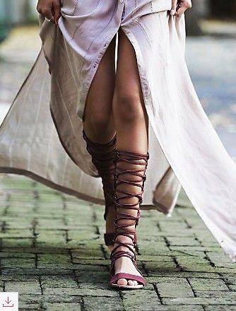 c6e2ce50bcca5 Spartiates montantes à lacets marrons | Shoes | Sandales spartiates femme,  Sandales spartiates et Spartiate