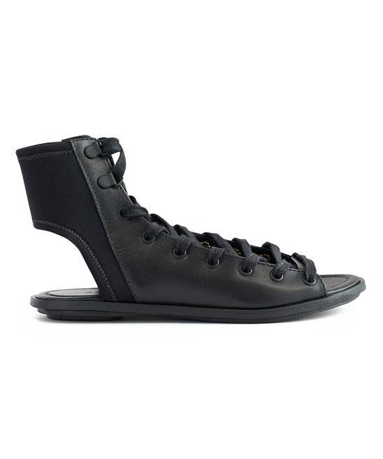 ATELJÉ 71 Black Vachetta Fidelio Leather Hi-Top Sandal