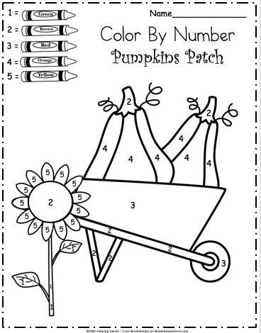 Free Kindergarten Fall Color By Number Worksheet