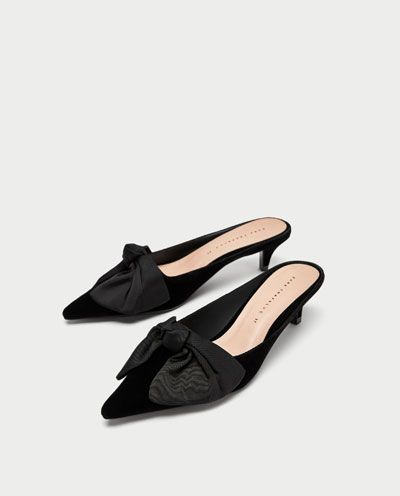 Todo España Mujer Lazo Zapatos Zara Medio Ver Mule Tacón gqf6w6