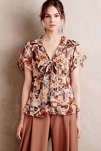 Tied Silk Top #anthropologie