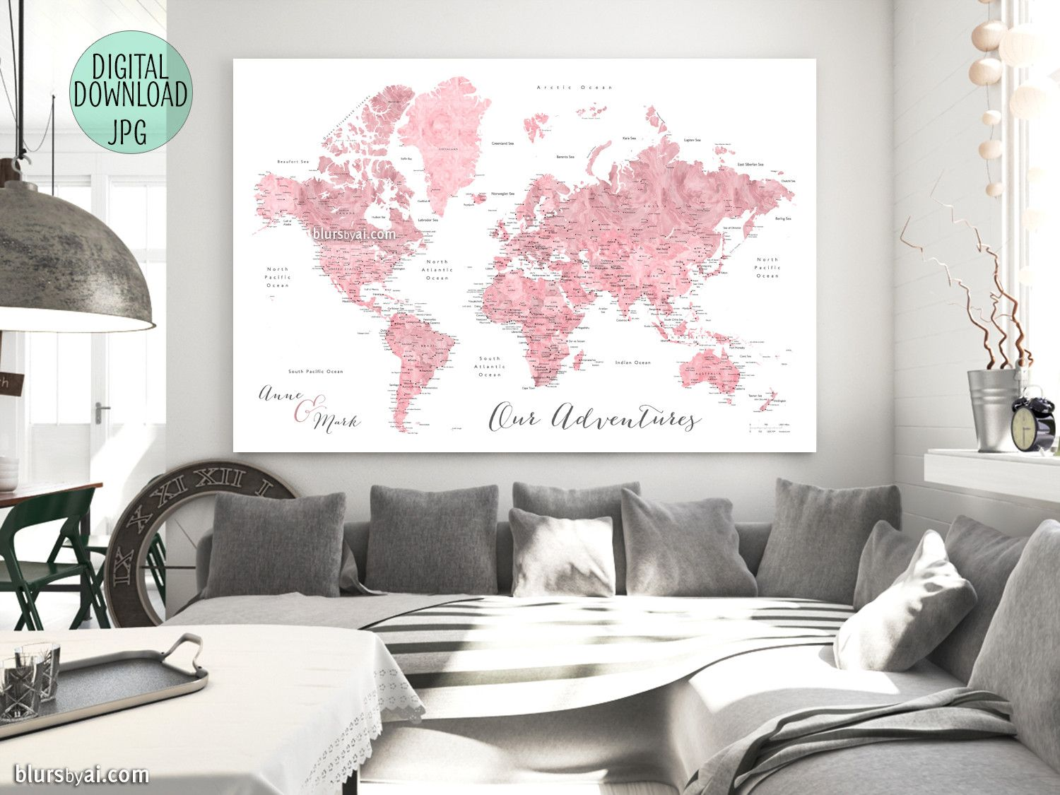 Custom quote pink watercolor printable world map with cities custom quote pink watercolor printable world map with cities capitals countries us states labeled peony gumiabroncs Choice Image