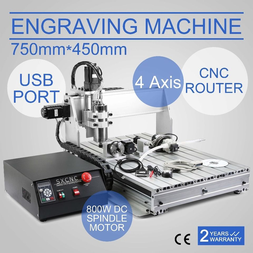 VEVOR CNC Router 6040Z 4 Axis Wood Engraving Machine 800W Spindle ...