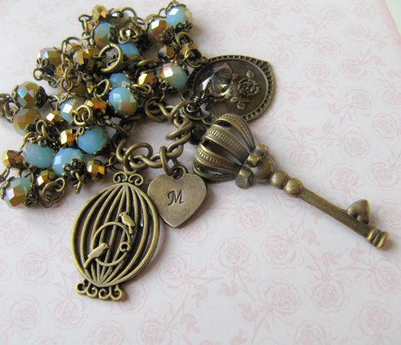 Blue vintage style Key necklace, handmade, personalized, by romanticcrafts