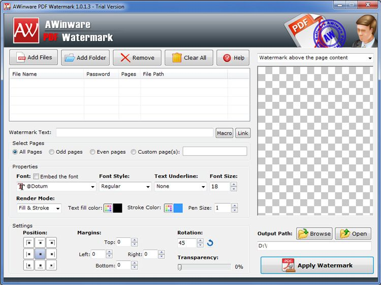 Awinware Pdf Watermark Software Is Windows Utility Helps In Creating Watermark Text Above Or Beneath The Content Of Page This C Font Names Software Text Fonts