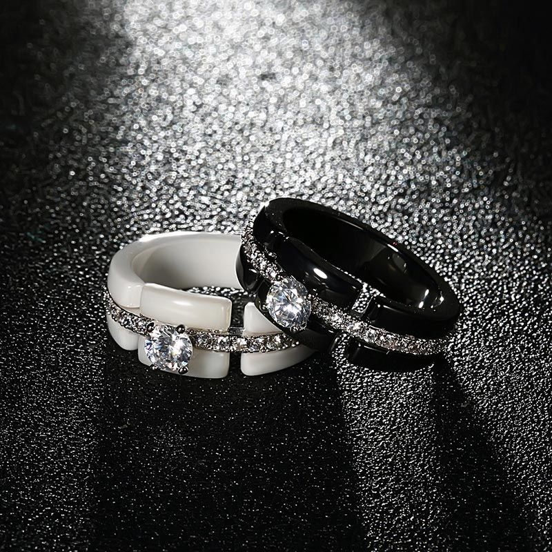 Diamond Accent Wide Band Ceramic Ring (With images
