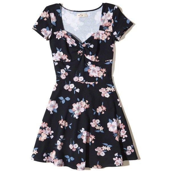 Hollister Twist-Front Skater Dress ($20) ❤ liked on Polyvore featuring dresses, navy floral, blue floral dress, blue fit-and-flare dresses, skater skirt, blue skater skirt and floral skater skirts