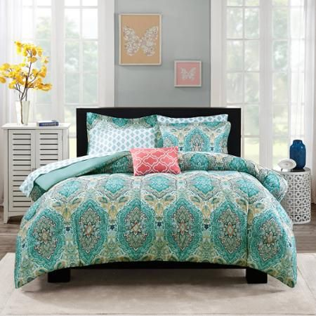 Bed in bag set - size QUEEN for this since it comes with the sheets and everything else. They have it at the Walmart in Brooksville.  Mainstays Monique Paisley Coordinated Bedding Set - Walmart.com