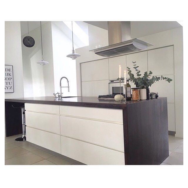 Modern Contrast Kitchen With White Cabinets And Dark
