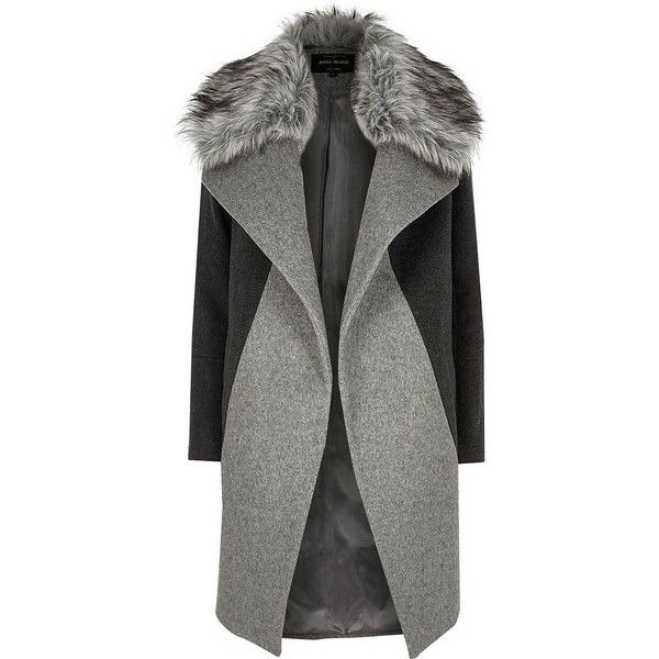 River Island Grey faux fur collar coat (582.350 COP) ❤ liked on Polyvore featuring outerwear, coats, jackets, gray coat, faux fur trim coats, oversized coat, river island and oversized lapel coat