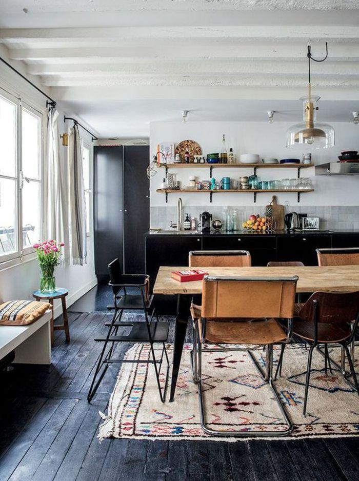 Le parquet noir en 45 super photos beaucoup d id es pour l int rieur salon parquet noir - Comment choisir le bon tapis de salon ...