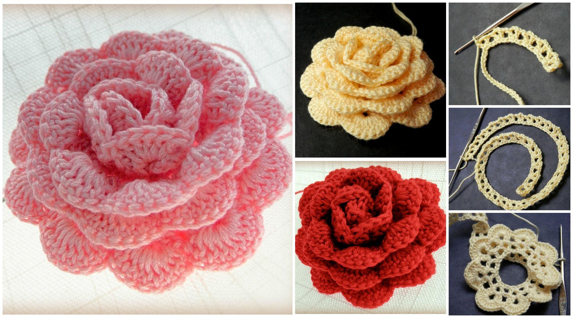 Crochet Rose With 1.25mm Hook | Arte creativo, Creativo y Patrón de ...