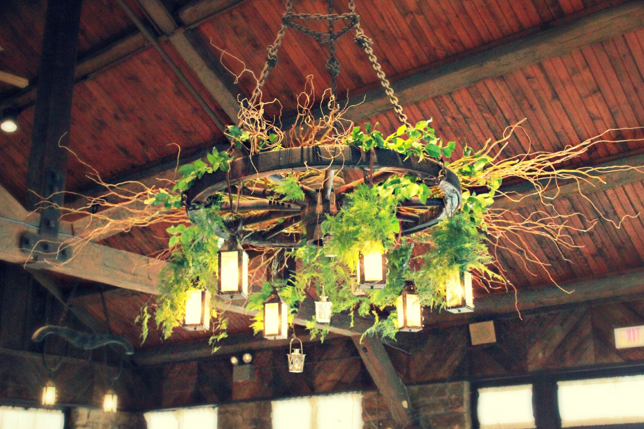 Our wagon wheel chandelier located in our Allison Peabody Hall was