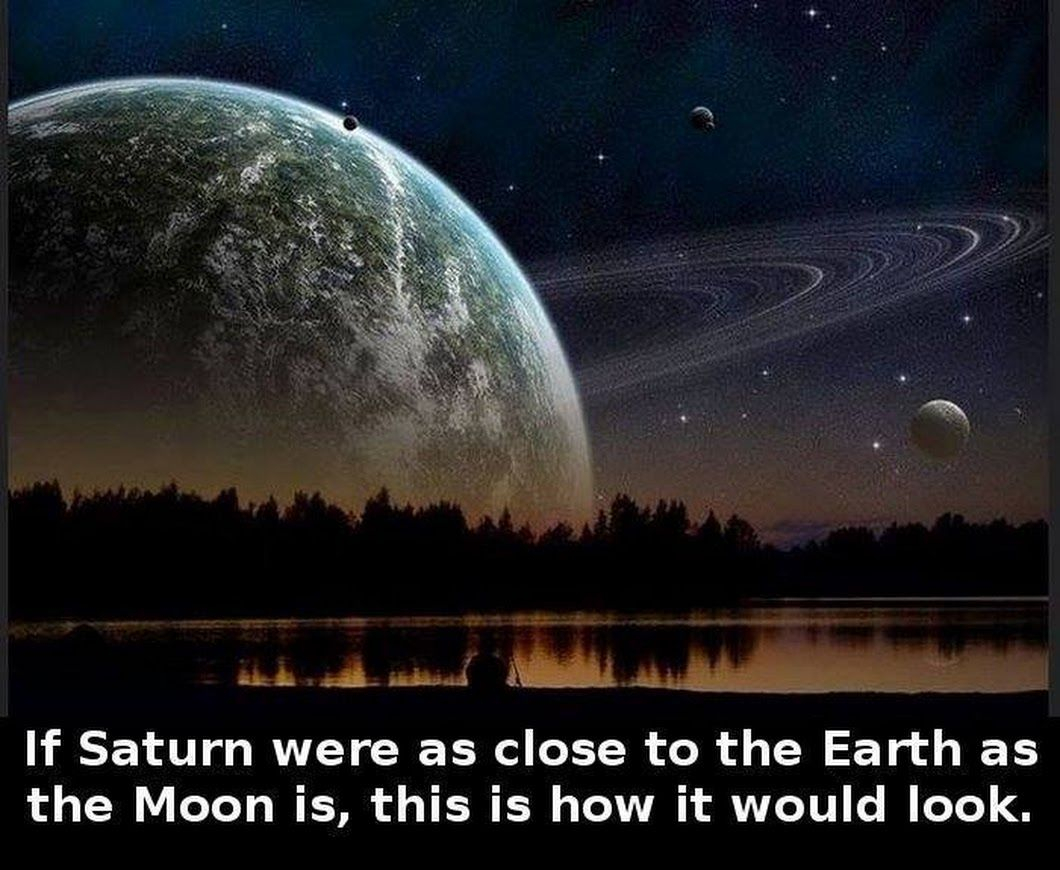 If Saturn Were As Close To The Earth As The Moon Is This