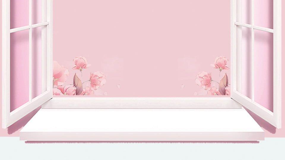 Pink Beautiful Window Sill Cosmetics Advertising Background Design#advertising #background #beautiful #cosmetics #design #pink #sill #window