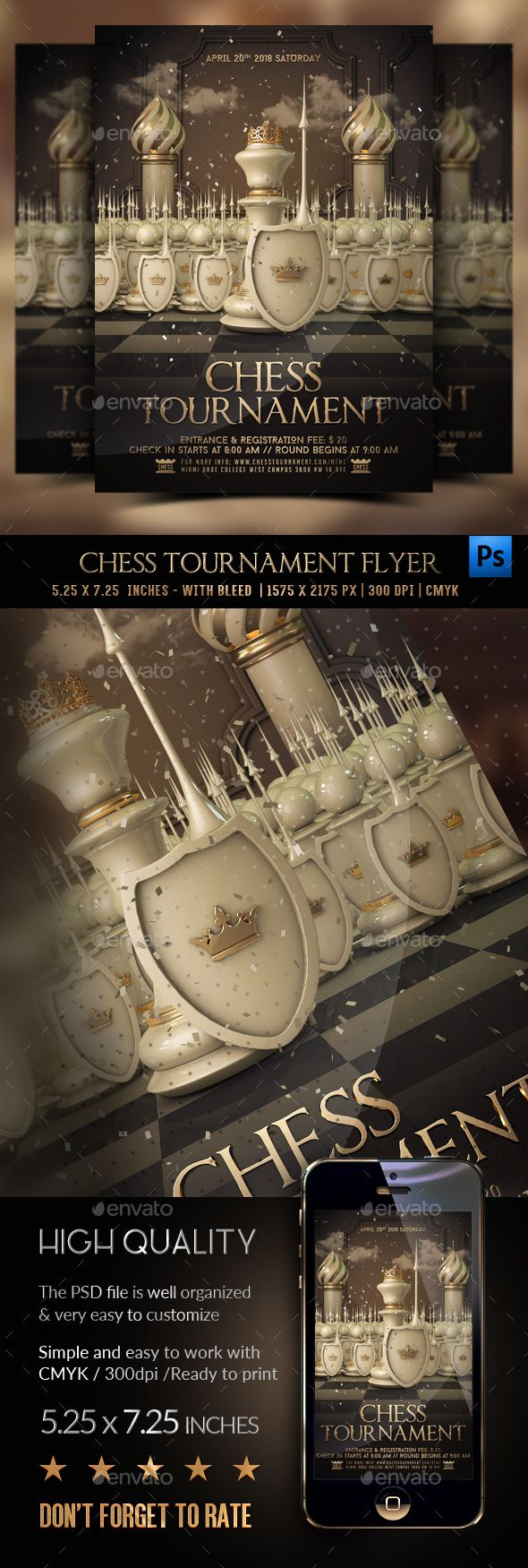 Chess Tournament Flyer — PSD gold board game